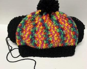 Beanie - Crochet - Ribbed Band - Rainbow