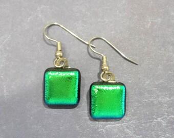 Green Earrings, Pierced Dangle Earrings, Dichroic Fused Glass Jewelry, Gift for Wife, Earring Jewelry - - 1603-6