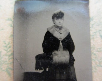 antique miniature gem tintype photo - 1800s, woman with fur collar, fur muff