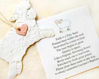 15 Seed Paper Lamb Baptism Favors Baby Shower Seed Favor - Plantable Paper Lambs - DIY Hearts