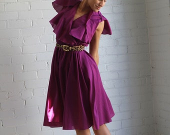 Vintage Ruffle Collar Dress