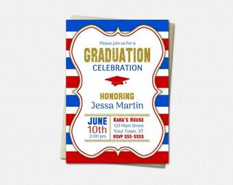 School Color Choice Graduation Invitation - PRINTABLE High School or College Graduation Invitations   striped gold glitter