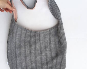 sweater hobo bag. design your own gray sweater purse. medium or large purse. over the shoulder or cross body bag.
