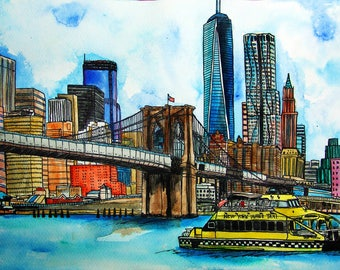 New York City, Brooklyn Bridge, Original  Watercolor