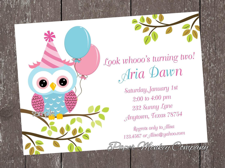 Pink and blue owl birthday invitations zoom filmwisefo