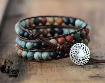 Matte Multi Picasso Jasper Wrap Bracelet, Boho Wrap, Gemstone Leather Bracelet, Bracelet Wrap, Beaded Leather Wrap, Beaded Wrap Bracelet