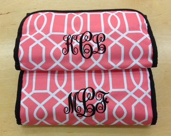 Monogrammed Hanging Cosmetic/ Toiletry Case, Geometric Print,FREE MONOGRAM