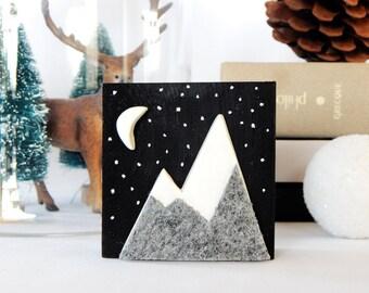 Snowy mountain miniature painting. Grey mountain art.  Winter night painting.  Art on wood. Wood wall art.  3d wall art. Stocking stuffer.