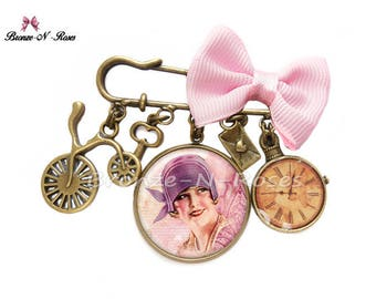 Lady retro bronze vintage cabochon jewelry fantasy glass Hat pin