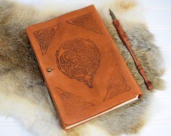 Celtic Leather Journal // Personalized Leather Book with Cernunnos Stag Design