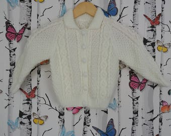 Aran Cardigan, White Cardigan, 3 - 4 Years, Knitted Cardigan, Boys Cardigan, Girls Cardigan, Infant Gift, Handmade, Hand Knitted