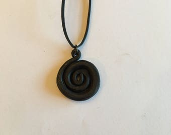 """Jewelry - Spiral Hand Forged Iron Pendant Necklace - 1 1/4"""""""