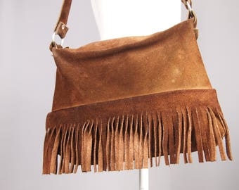 Brown suede bag - fringe bag - shoulder bag - 70s - boho bag - leather purse - suede tassle bag - leather handbag - 60s - hippie chic