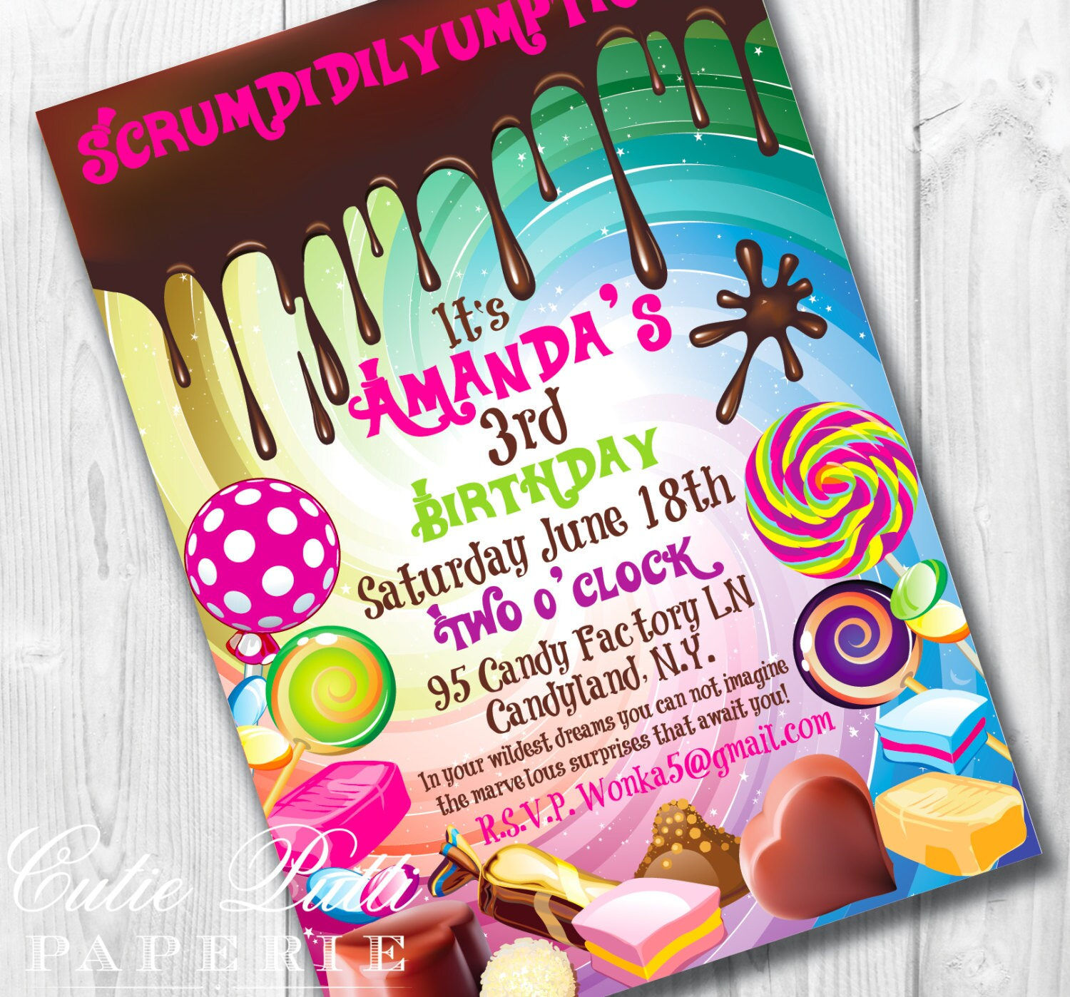 Willy Wonka Birthday Invitations Willy Wonka Invite Wonka