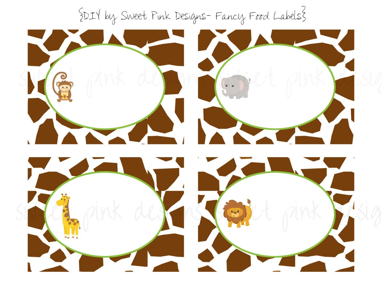 Jungle Animalsfancy Food Labels