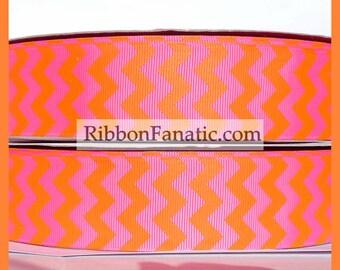 "5 yds 1.5""   Hot Pink and Orange Chevron Stripe Grosgrain Ribbon"