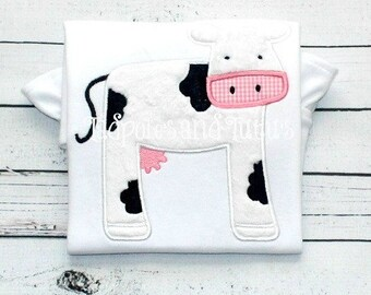 Personalized Cute little Cow Applique, Cow Tee, Tshirt or Bodysuit