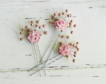 Flower Pins, Flower Girl Hair, Bridal Hair Pins, Wedding Hair Accessories, Pink Rose Hair Pins, Floral Hair Clip Set, Pink Flower pins, Boho