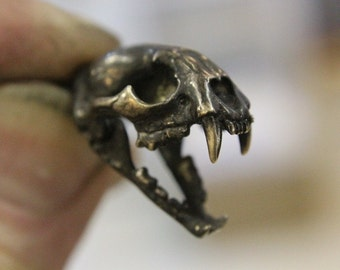 Cat Skull Necklace Wid Cat Skull with Articulated Jaw - Ancient Oxidized Bronze Cat Skull Jewlry 102