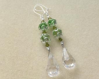 Prism & Sterling Silver Earrings ~ Greens