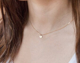 Tiny Initial Necklace, Gold Personalized Engraved Jewelry, Bridesmaid Gifts, Gifts for Mom, Gifts for Her, Tiny Disc Layering Necklace