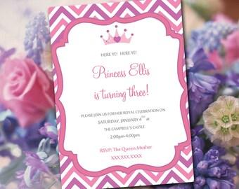 "Princess Birthday Invitation Template - Chevron Invitation Template ""Royal Princess Party"" Purple Pink Printable Birthday Invitation"