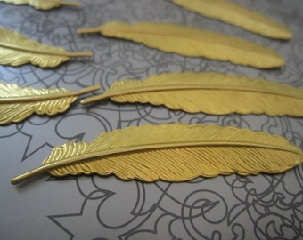 Solid Raw Brass Feathers - 52mmx12mm - 8 pieces