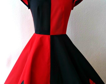 Mad Quinn cosplay dress  / red and black / comic costume / circle skirt