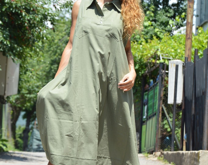 Plus Size Summer Dress, Loose Military Dress, Linen Long Tunic, Midi Dress, Party Dress, Party Dress, Womens Casual Dress by SSDfashion