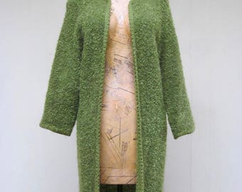 Vintage 1960s Sweater Coat / 60s Green Boucle Knit Open Cardigan / Small