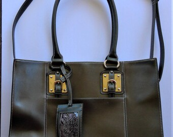 New Price - Vintage WILSON LEATHER Black Leather Travel Tote or Messanger Bag - Like New Stock