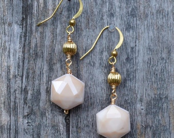 Tan/Neutral/Beige Color Volcano Glass Earrings in Gold (E-18)