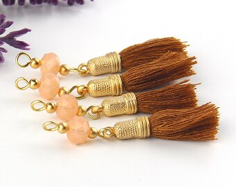 Cinnamon-Tan,Handmade Beaded Tassel Dangles, Earring Dangles, Tassel Dangles, 4 pieces // TAS-144