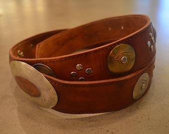 Vintage Moroccan brown leather belt silver gold buckle gold studs M / L medium large