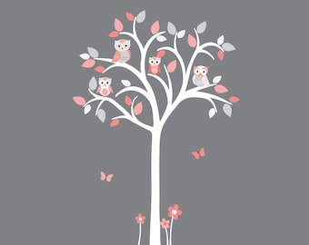 White Tree Wall Decal, Girl Owl tree wall decal, Pink and grey wall decal, Owl tree wall sticker, Girl Owl Nursery, Shades of Coral Design
