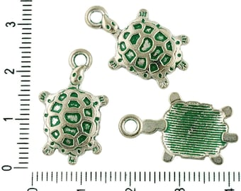 8pcs Czech Green Turquoise Patina Antique Silver Tone Tortoise Turtle Animal Charms Bohemian Metal Findings 14mm X 24mm