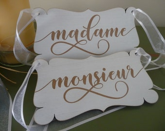 MADAME and MONSIEUR Wedding Sign, French Wedding Chair Signs, Mr and Mrs Shabby Chic Sign, Wooden Engraved Sign, Wedding Decor, Photo Prop