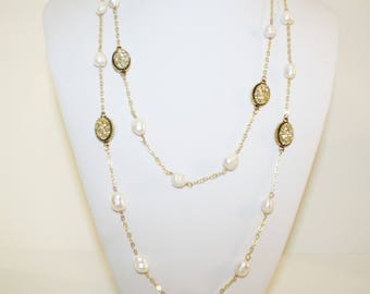 Druzy, Angelic Druzy Necklace, Gold,  Long Necklace, Fresh Water Pearls, Double Necklace