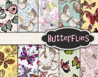 Instant Download Butterfly Digital Scrapbook Paper Butterflies Digital Paper Printable Butterfly Paper Digital Butterfly Paper Pack 0340