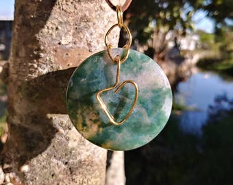 Sale~ Moss agate heart necklace