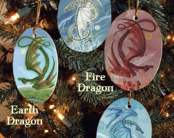 Set of Four Elemental Dragons Holiday Ornaments