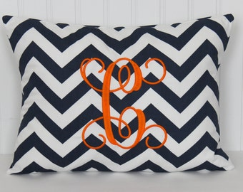 Chevron Monogrammed Pillow Decorative Throw Pillow Cover Personalized Home Decor 12 x 16 Baby Gift Dorm Decor