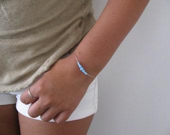 Blue opal bracelet, opal bracelet, opal bead bracelet, opal silver, silver bracelet, opal jewelry, minimalist bracelet, ball br