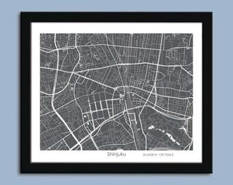 Shinjuku map, Shinjuku city map art, Shinjuku wall art poster, Shinjuku decorative map