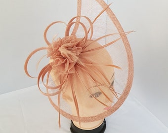 Large Headband Hat Fascinator Weddings Ladies Day Race Royal Ascot - NUDE COLOR