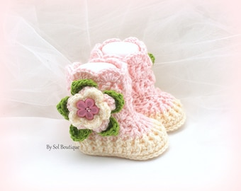 New Born Booties, Cream, Pink, Baby Girl Shoes, New Born Shoes, Girl Booties, Crochet Booties, Baby Shower Gift, Gift for Baby,Baby Shoes