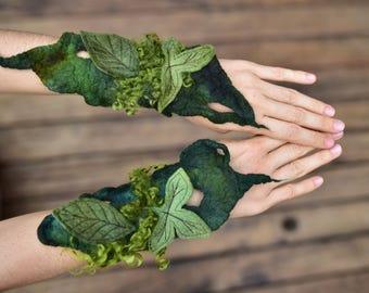 Felt Cuffs-Forest Gloves-Fairy Woodland Leaf Bracelets-Pointed Pixie Cuffs-Matching Wrist Cuffs-Felt Bracelets-Festival WearOOAK