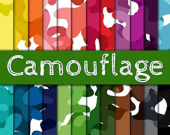Camouflage Digital Paper - Colorful Camo Backgrounds -  24 Colors - 12in x 12in - Commercial Use -  INSTANT DOWNLOAD