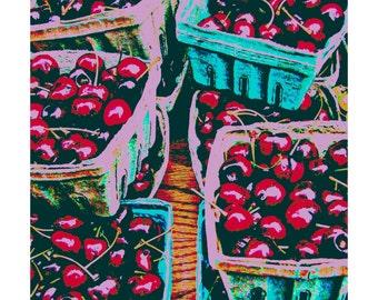 Cherries POP Art print, Cherry Art, Pop Art, Birthday Gifts, Christmas Gifts, Kitchen Art, Fruit Themed Art, Home Decor Art, Trendy Art, Red