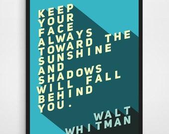 WALT WHITMAN QUOTE, Walt Whitman, Walt Whitman Art, Walt Whitman Print, Literary Quote, Literary Blue Quote, Literary Quote Print